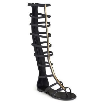 Journee Collection Women's Knee-High Gladiator Thong Sandals (Black)