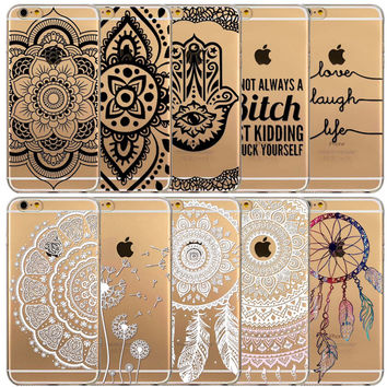 Cases for Apple iPhone 6 6s 5 5S SE Transparent Floral Paisley Flower Mandala Henna TPU Silicon Phone Cover Shell Capa Back Case