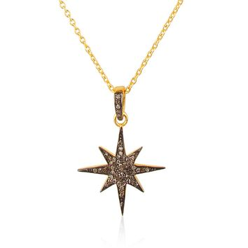 Handmade 14K Yellow Gold Natural Ethically Mined Black Diamond Necklace Pendant