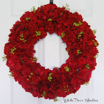 Red Hydrangea Wreath, Front Door Wreath, Summer Wreath, Fall Wreath, Holiday Wreath, Large Full Wreath