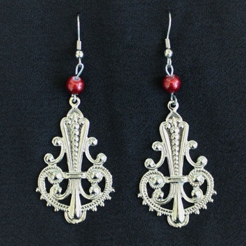 Handmade Boho Hippie Chandelier Drop Earrings in Silver Tone With Red Bead Accent