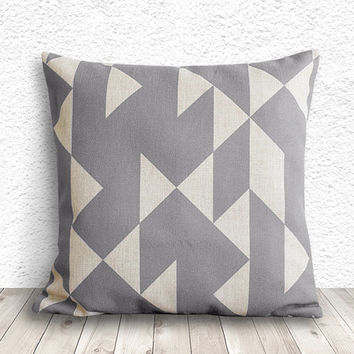 Pillow Cover, Geometric Pillow Cover, Cushion Cover, Linen Pillow Cover 18x18 - Printed Geometric - 024