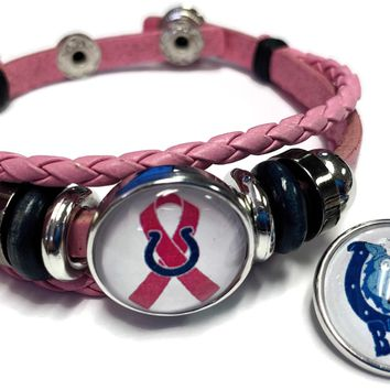Breast Cancer Awareness NFL Indianapolis Colts Pink Leather Bracelet W/2 Snap Jewelry Charms New Item