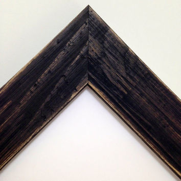 BLACK Square Rustic Reclaimed Distressed Barn Wood Picture Frame All Wood - 3x3 4x4 5x5 6x6 7x7 8x8 9x9 10x10 11x11+ Custom Sizes