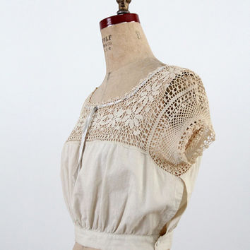 1900s Blouse / Edwardian Crotchet Lace Top