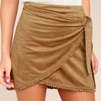 Reflections Tan Suede Mini Wrap Skirt