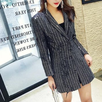 Trendy SHENGPALAE 2018 Autumn Jacket For Women Personality Turn-down Collar Long Sleeve Sequins Vintage Ladies Coat Fashion Tide FF593 AT_94_13