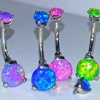 14g Beautiful Pink Blue Purple Green or White ~Sim Fire Opal ~ Navel Belly Ring