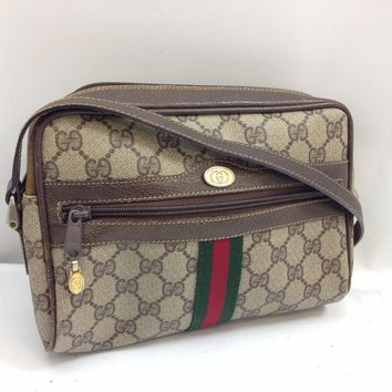 Auth Gucci GG pattern Shoulder Bag Brown Vintage 7K160450M