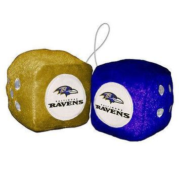 "Baltimore Ravens Fuzzy Dice NFL High Quality PLUSH 3"" Car Auto Truck Football"