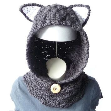 CROCHET PATTERN Hooded Cowl with Cat Ears Animal Cowl Pattern Crochet Hood Pattern Hoodie with Ears Kawaii Cat Scarf Crochet Scoodie Pattern