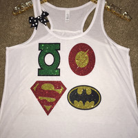 Superhero - Ruffles with Love - Green Lantern - Superman - Batman - Flash - DC - Glitter - Graphic Shirt