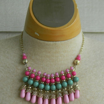 MINT Green  & Pink Pastel Color  Beaded BIB Choker Statement NECKLACE - w/ Gold Filigree Detailing