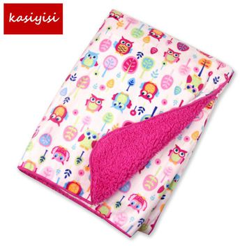 Factory Sales Baby Blanket thicken double layer fleece infant swaddle baby swaddle Microfiber plaid 76*102CM atrq0001