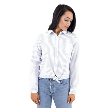 Women's Striped Button Tie Front Shirt