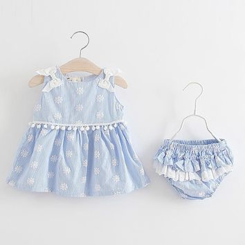summer Baby Girls Dress with Tassel Kids Dresses for Girls Costumes floral Princess Dress+shorts clothes fit 3-24 months