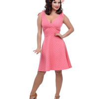 Coral & White Dot Mandie Bee Nice Knit Dress