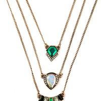 Casual Green Crystal Three Ways Layers Necklace