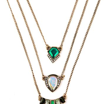Streetstyle  Casual Green Crystal Three Ways Layers Necklace