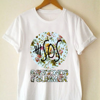 Custom T Shirt 5 Seconds Of Summer  flower Funny Shirt  for t shirt Mens and T shirt Girl Size S-XXL by JumatanBro