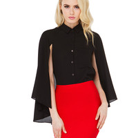 Black Long Sleeves Blouse with Buttons