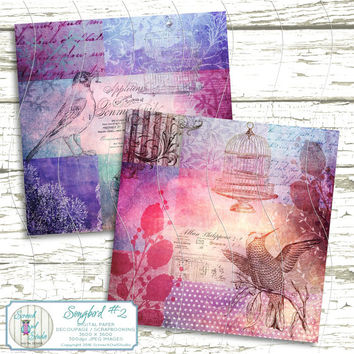 Decoupage Papers, Boho Chic, Scrapbooking Paper, Card Making, Paper Craft Supplies, Printable Images, Instant Download - 'Songbird #2'