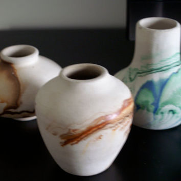 Nemadji Mini Pottery, Vintage Ceramic, Beautiful Collection of Three Small Colorful Vases, Made in USA