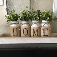 Country Home Decor, Mason Jars With Burlap, Painted Mason Jars, Mason Jars With Flowers,Southern Home Decor, Rustic Decor, Living Room Decor