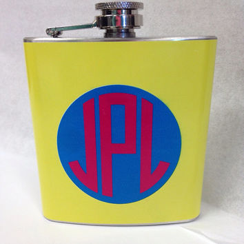 Custom Monogram 6oz. Hip Flask- Great for 21st Birthday, Bridesmaids, Groomsmen, Big/Little Gifts, Sorority, Fraternity, College Students
