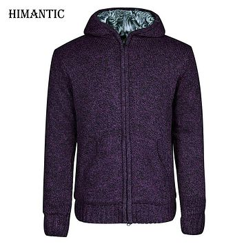 Men Jacket thick cotton hooded fur jacket men's winter padded knitted casual sweater Cardigan coat Spring Outwear