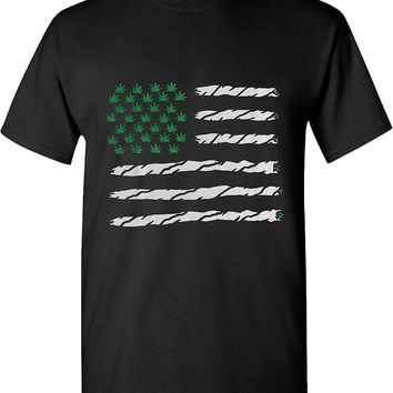USA Marijuana Flag Joint Stripes & Weed Stars 420 Solid Graphic T-shirts