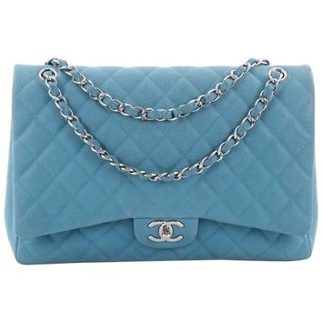 Chanel Classic Double Flap Bag Quilted Matte Caviar Maxi