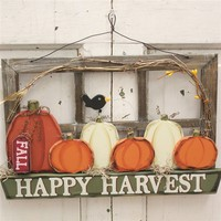 Rustic ''Happy Harvest'' Wood Hanging Wall Decor