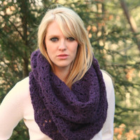 Eggplant  Purple - Textured Chunky Cowl Scarf Hood- Neck Warmer