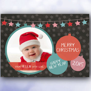 Photo Christmas Card  Chalkboard personalized  / printable pdf / xmas custom digital first Merry Holiday family baby children keepsake