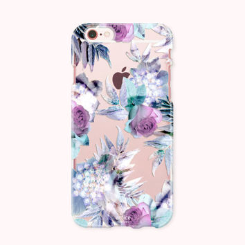 Crystal Clear iPhone 6 case, iPhone 6S Case, iPhone 6 plus case, iPhone 6s plus case, iPhone 5S, iPhone SE Case, Galaxy Case- Purple roses