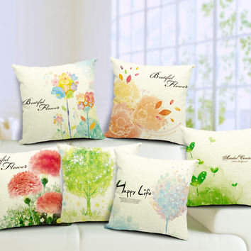 Hand painted Flower Cushion Cover Fresh Backrest Throw Pillow Covers Fundas De Cojines 45x45cm Sofa Decor Free Shipping BZT-93