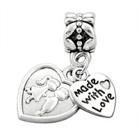 925 Silver Beads,Made With Love&Lover Kiss Pendant