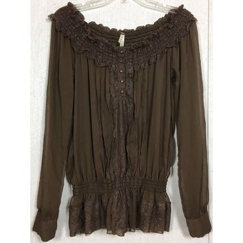 Roper Off Shoulder Peasant Top Floral Lace Sheer Chiffon Brown Western Cowgirl M