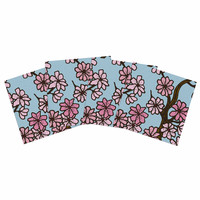 """Art Love Passion """"Cherry Blossom Day"""" Floral Illustration Indoor/Outdoor Place Mat (Set of 4)"""