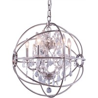 "Geneva 20"" Diam Chandelier, Polished Nickel, Clear Crystal, Royal Cut"