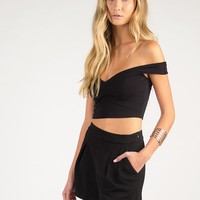Crossed Off The Shoulder Cropped Top - Large