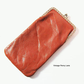 Vintage Leather Eyeglasses Case, Brown Eye Glasses Pouch