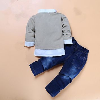 High quality boys boutique clothes 2pcs/set kids gentleman bow tie fake two piece shirts+handsome jeans