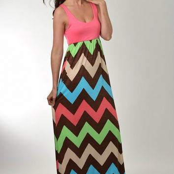 Auditions Coral and Brown Chevron Sleeveless Maxi Dress with Racer Back