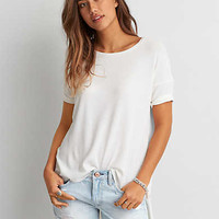 AEO Ribbed Side Slit T-Shirt , Cream