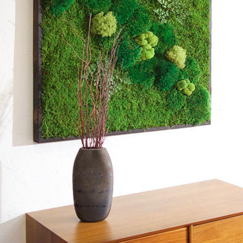 "36x36"" Moss Wall Art. No care green natural wall decor. Real preserved moss and ferns, pine wood frame. Green vertical wall."