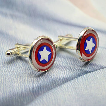 Captain America cufflinks,Super Hero Captain America cuff links Accessories for men Superheroes jewelry blue red white (XK5)