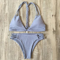 Fashion pure gray hand weave straps bottom side hollow two piece bikini
