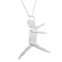 Tiny Articulated Sterling Dancer Necklace